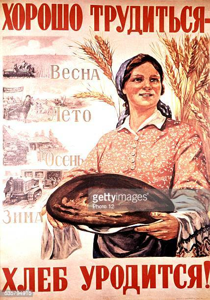 'Hard work in the fields will be rewarded' 84 x 59 cm USSR