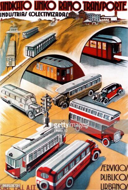 Propaganda poster by Ricard Obiols from the Second Spanish Republic Sindicato Unico Ramo Transporte Extolling the achievements of the publicly run...