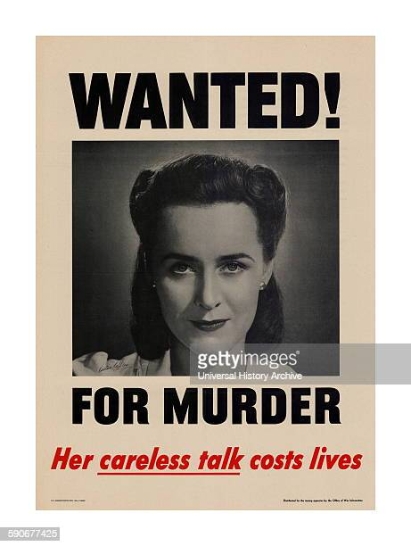 Propaganda Poster from WWII Mock Wanted Poster accusing a woman of murder due to 'loose talk'