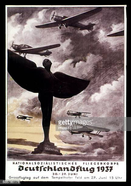 Propaganda poster in nazi Germany To the glory of NationalSocialist Aviation Corps Germany