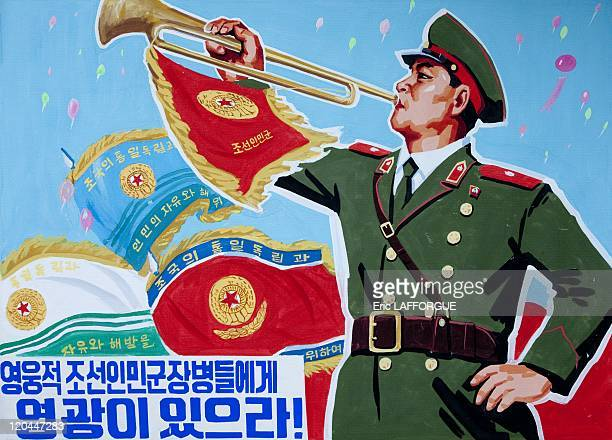 Propaganda poster in North Korea on June 07, 2009.