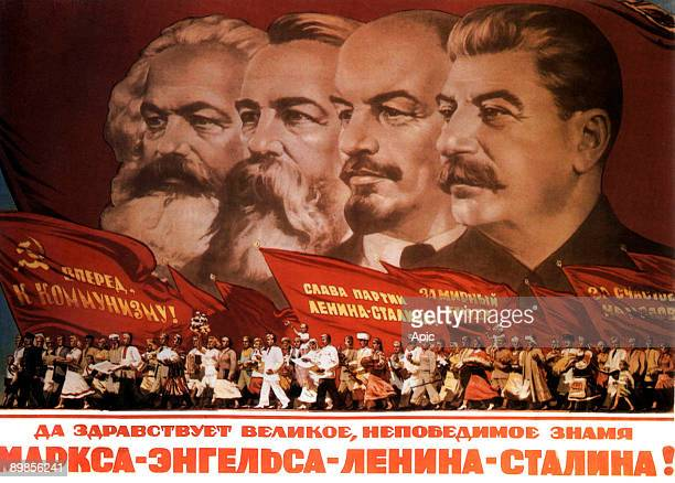Propaganda poster Karl Marx Friedrich Engels Lenin and Stalin
