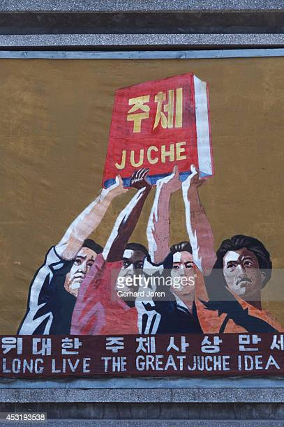 A propaganda poster supporting Kim Il Sung's Juche ideology Kim Il Sung was the pseudonym for Kim Song Ju Kim was born in Pyongi near Pyonyang in...
