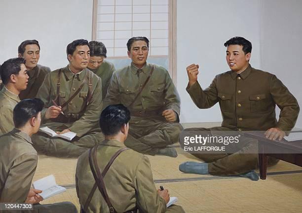 Propaganda poster with Kim Il Sung in North Korea on April 17 2008