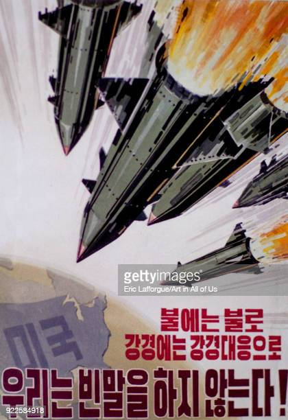 Propaganda poster with missiles sent on usa Pyongan Province Pyongyang North Korea on April 26 2010 in Pyongyang North Korea