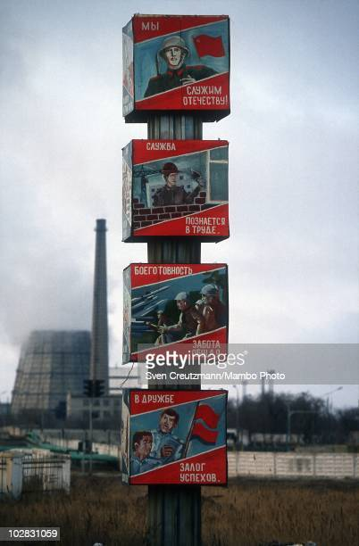 Propaganda signs show images of Russia�s space history on March 16 in Baikonur Kazakhstan Baikonur located in the steppes of Kazakhstan was...