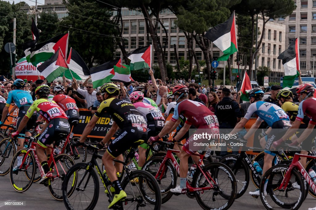 Pro-Palestine activists contest Tour of Italy cycling race : News Photo