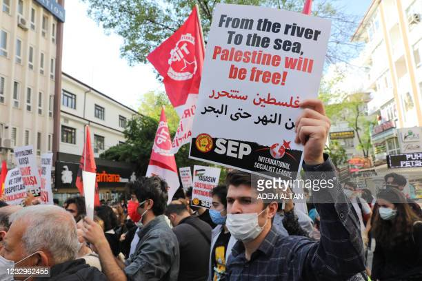 Pro-Palestinian demonstrators shouts slogan during a rally to protest against Israel's attacks on Gaza strip, in Ankara, Turkey, on May 17, 2021. -...