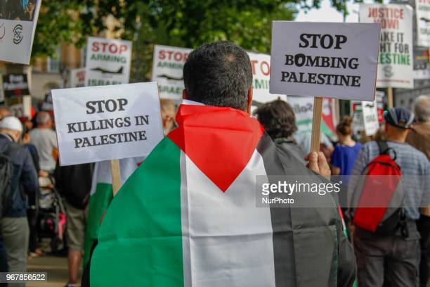 ProPalestinian Protester Palestinians and those that support Palestine protested in London UK on 5 June 2018 condemning the recent killings in the...