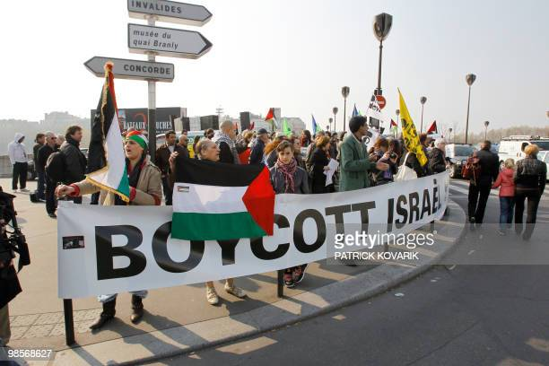 ProPalestinians activists demonstrate against the opening of the Ben Gourion esplanade to be called today after the first Prime minister of Israel...