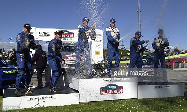 Propecia Rally New Zealand winner Marcus Gronholm and codriver Timo Rautiainen celebrate their win at the official finish ceremony in the Manukau...