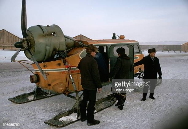 A propellerdriven sledge used to carry passengers along the frozen Irtysh River Russia | Location near Irtysh River Khanty Mansiysk Russia USSR