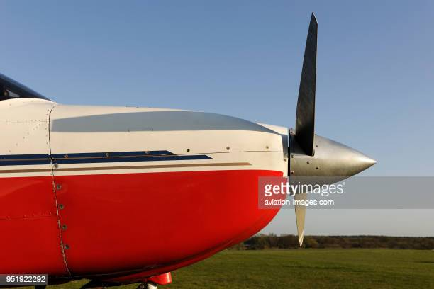 Propellers of Synergy Aviation Piper PA-28-181 Cherokee Archer 3 / III parked on the grass.