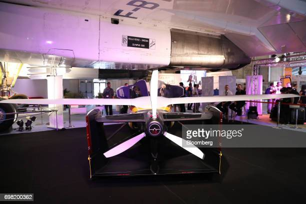 A propellor sits on the rear of an AeroMobil flying car as it stands on display during the 53rd International Paris Air Show at Le Bourget in Paris...