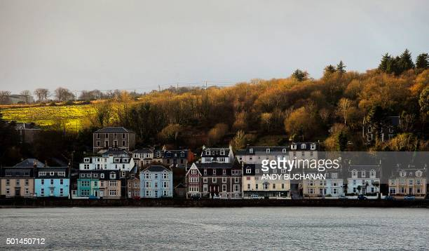 Properties are seen along the shoreline in the town of Rothesay on the Isle Of Bute an island off of the west coast of Scotland on December 11 2015...