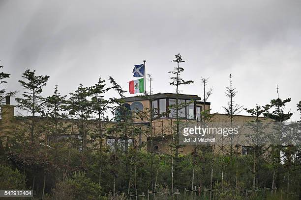 Properties bordering Trump International Golf Links fly the Mexican flag on June 25 2016 in Aberdeen Scotland US presidential hopeful Donald Trump...