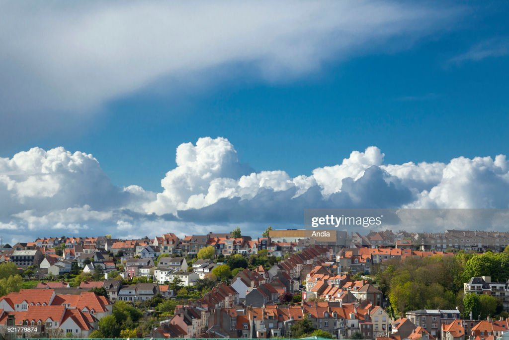 Properties in Boulogne-sur-Mer (northern France): buildings and houses viewed from the ramparts.