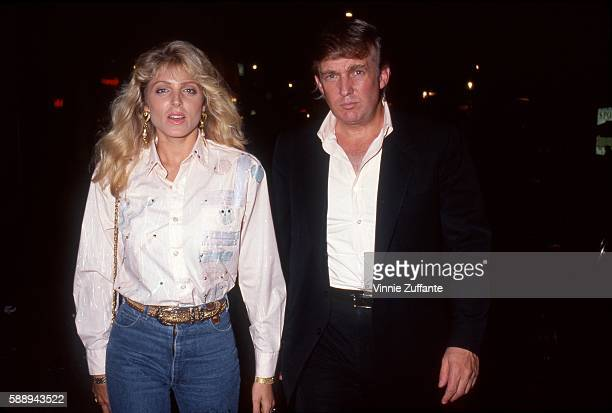 Property developer Donald Trump and girlfriend Marla Maples attend an event on circa 1992 in New York City New York