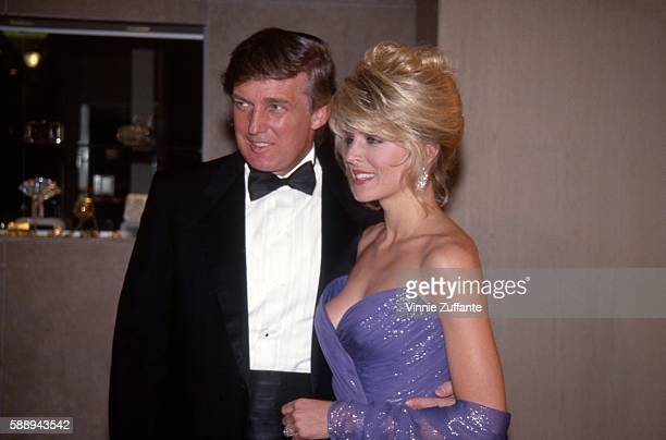 Property developer Donald Trump and girlfriend Marla Maples attend an event on February 27 1992 in New York City New York