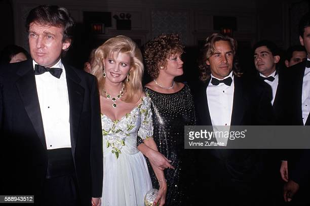 Property developer Donald Trump and wife Ivana Trump with actors Don Johnson and Melanie Griffith attend a Police Athletic League event for...