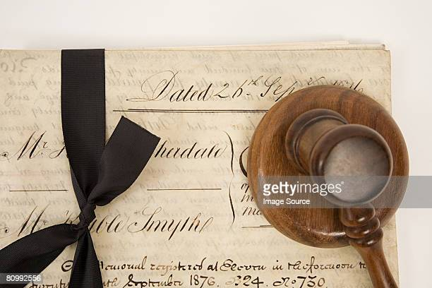 A property document and a gavel
