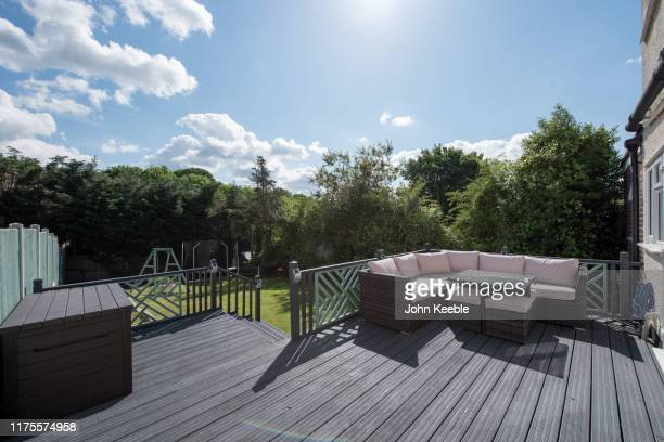 property exteriors - garden decking stock pictures, royalty-free photos & images