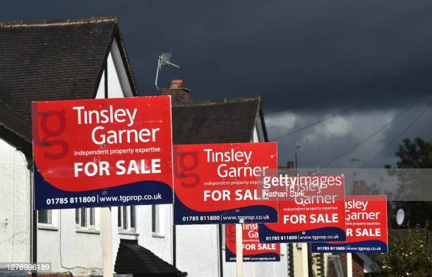 Property For Sale boards for Tinsley Garner Estate agents are seen advertising properties for sale on October 07, 2020 in Stoke on Trent .