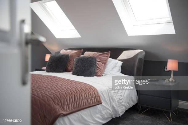 property interiors - bedroom stock pictures, royalty-free photos & images
