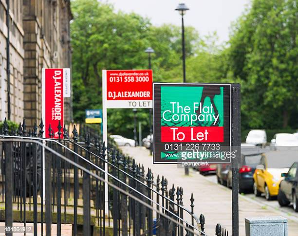 property marketing signs in edinburgh - house rental stock photos and pictures