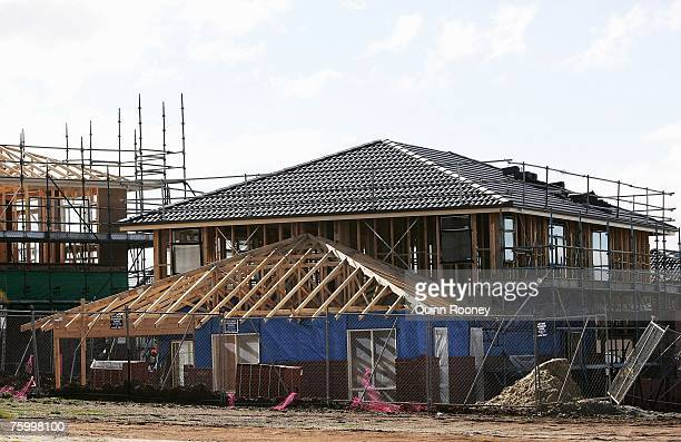 A property under construction is seen in Waverley Park on August 7 2007 in Melbourne Australia The Reserve Bank of Australia is expected to increase...