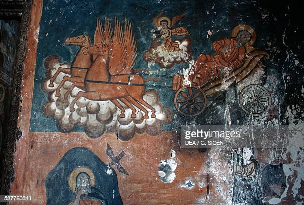 Prophet Elijah on the chariot fresco in the Byzantine church of Agioi Anargiroi Western Macedonia Greece 11th century