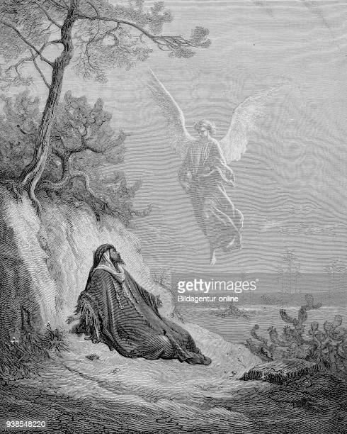 prophet Elijah or Elias and the angel sitations of the bible illustration from the 19th century