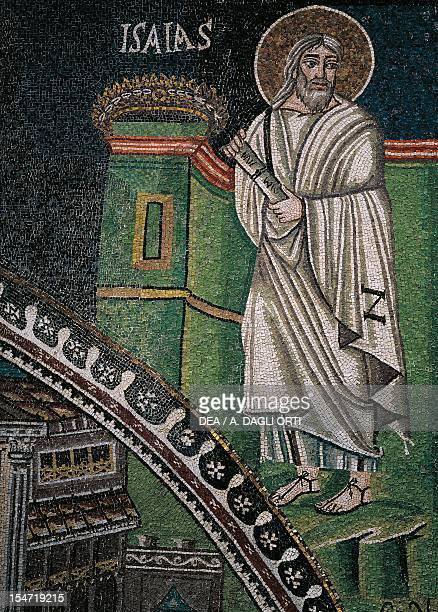 Prophet Isaiah mosaic right of the lunette south wall of the presbytery Basilica of San Vitale Ravenna EmiliaRomagna Italy 6th century