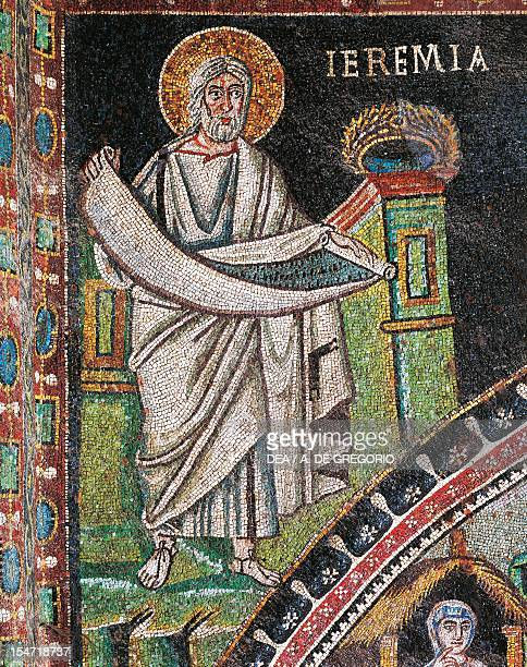 Prophet Jeremiah mosaic left of the lunette northern wall of the presbytery Basilica of San Vitale Ravenna EmiliaRomagna Italy 6th century