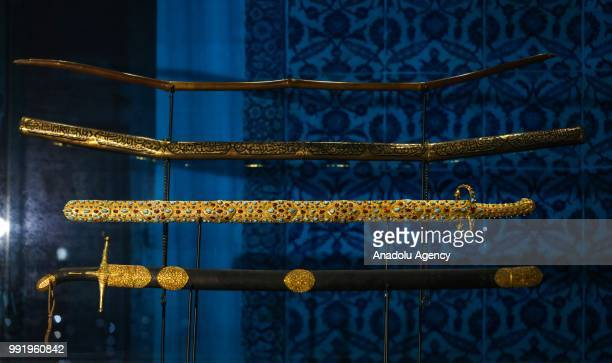 Prophet Muhammad's swords and bow are displayed in their exclusive reliquary made by Ottoman goldsmiths at Audience Chamber of Topkapi Palace on July...