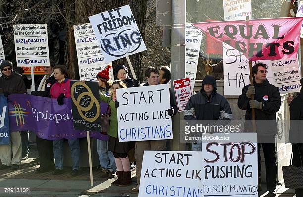 Proponents of samesex marriage display signs outside the State House January 2 2007 in Boston Massachusetts A special joint session of the...