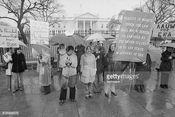 Proponents of the Equal Rights Amendment demonstrate in front of the White House 3/22 on the 5th anniversary of the amendment by Congress Sponsored...