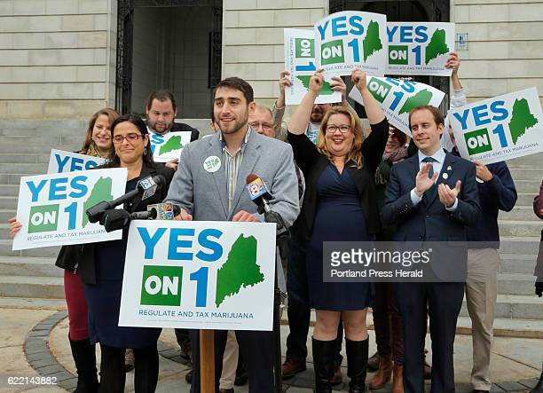 Proponents of the marijuana legalization referendum claim victory at a press conference at City Hall in Portland on Wednesday November 9 2016