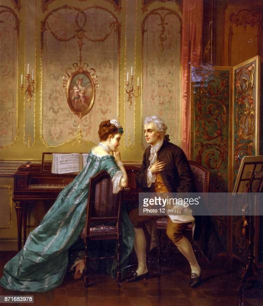 Proposal by Otto Erdmann 18341905 artist c1873 Print shows a man proposing to woman seated at keyboard instrument