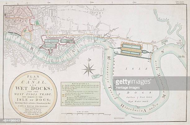 Proposed canals and docks London 1800 Plan of a proposed canal and wet docks for the Isle of Dogs to aid West India trade on the site of West India...
