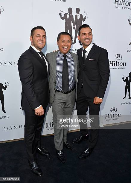 Proposition 8 Plaintiffs Paul Katami actor Alec Mapa and Jeff Zarrillo walk the red carpet outside The Beverly Hilton before their wedding ceremony...