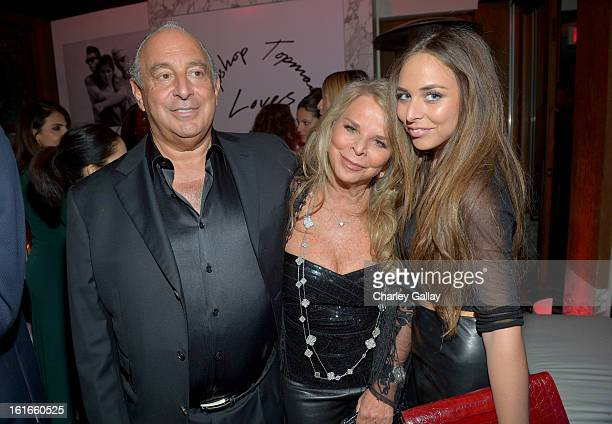 Proprietor Sir Philip Green Lady Tina Green and Chloe Green attends the Topshop Topman LA Opening Party at Cecconi's West Hollywood on February 13...
