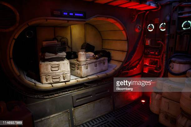 Props are displayed inside the Millennium Falcon during a media preview of Star Wars: Galaxy's Edge at Walt Disney Co.'s Disneyland theme park in...