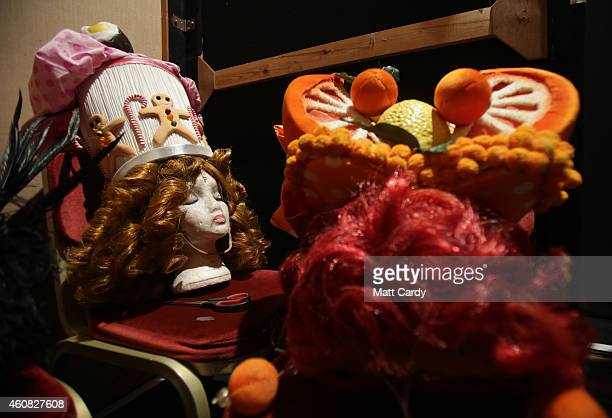 Props are seen backstage at the start of The Bristol Hippodrome's production of Dick Whittington on December 23 2014 in Bristol England Many theatres...