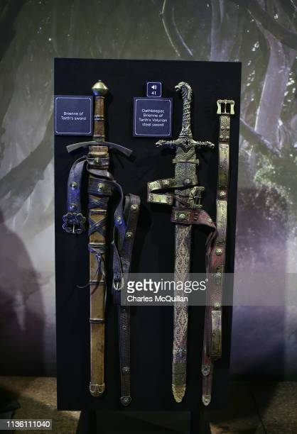 Props can be seen on display at the Game Of Thrones: The Touring Exhibition press launch at Titanic Exhibition Centre on April 10, 2019 in Belfast,...