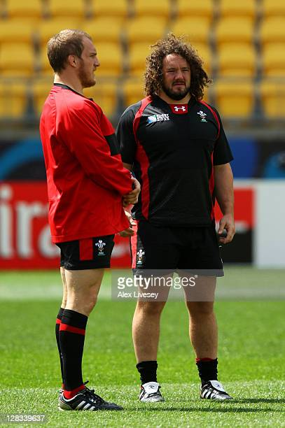 Props Gethin Jenkins and Adam Jones during a Wales IRB Rugby World Cup 2011 captain's run at Wellington Regional Stadium on October 7, 2011 in...