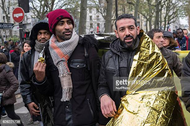 Prorefugees protest march against the recent evacuation of the different camps from Calais to Stalingrad that end in deportations in Paris on...
