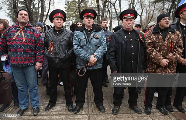 Pro-Russian Cossacks rally outside the Crimean parliament building on February 28, 2014 in Simferopol, Ukraine. According to media reports Russian...