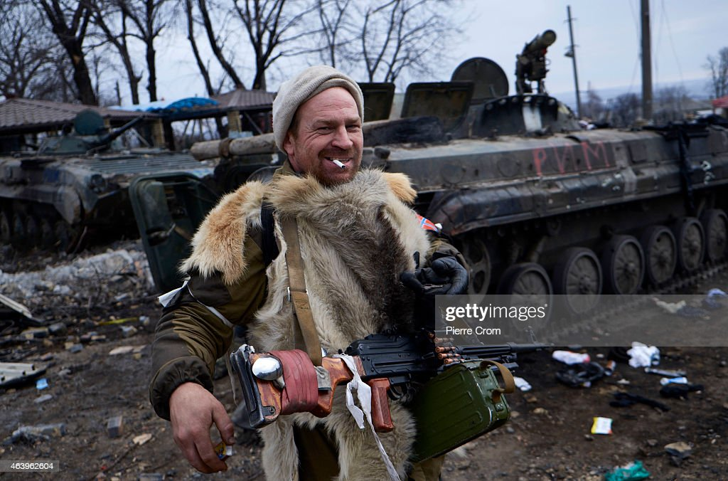 Pro-Russian fighters arrive on February 20, 2015 in Debaltseve, Ukraine. The strategic railway town of Debaltseve is of under the control of pro-Russian rebel fighters, after Ukrainian Government forces began to withdraw from the town early on Wednesday, after heavy fighting.