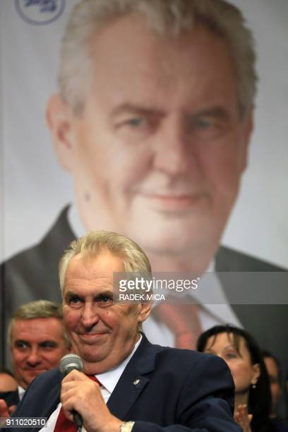 ProRussian incumbent Milos Zeman gives a speech as he celebrates his victory with his staff members after he was reelected Czech President on January...